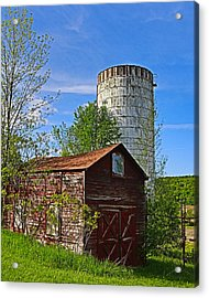 Acrylic Print featuring the photograph Red Barn And Silo by Paula Porterfield-Izzo