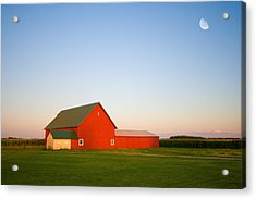 Red Barn And The Moon Acrylic Print by Alexey Stiop