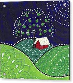 Red Barn At Night Acrylic Print