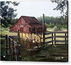 Red Barn At Sunrise Acrylic Print by Cynara Shelton