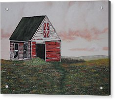 Red Barn Acrylic Print by Candace Shockley