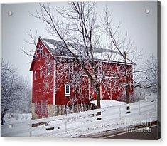Red Barn Circa 1876 Acrylic Print by Sue Stefanowicz