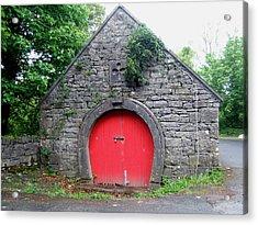 Red Barn Door In Ireland Acrylic Print by Jeanette Oberholtzer