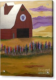 Red Barn Golden Landscape Acrylic Print