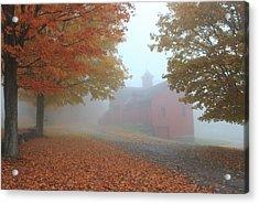 Red Barn In Autumn Fog Acrylic Print by John Burk