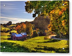 Red Barn In Autumn - Jenne Farm Acrylic Print