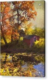 Red Barn In Autumn Acrylic Print by Joann Vitali