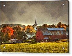 Red Barn In Fall - Peacham Vermont Acrylic Print by Joann Vitali