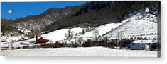 Red Barn In Snow Acrylic Print by Alan Lenk