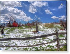 Red Barn In Snow - New Hampshire Acrylic Print by Joann Vitali
