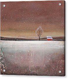 Red Barn In Snow Acrylic Print by Toni Grote