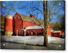 Red Barn In Snow - Vermont Farm Acrylic Print