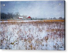Red Barn In Snow - Winter At Retzer Nature Center  Acrylic Print by Jennifer Rondinelli Reilly - Fine Art Photography
