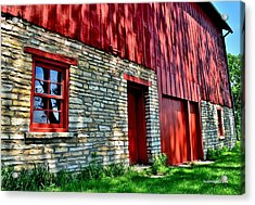 Red Barn In The Shade Acrylic Print
