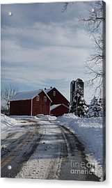 Red Barn In The Snow Acrylic Print