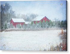 Red Barn In Winter At Retzer Nature Center  Acrylic Print by Jennifer Rondinelli Reilly - Fine Art Photography