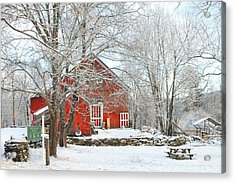 Red Barn In Winter Acrylic Print by John Burk