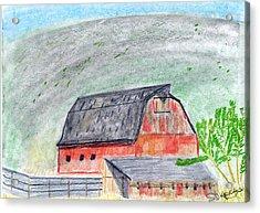 Red Barn Acrylic Print by John Hoppy Hopkins