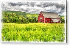 Red Barn Landscape Watercolor Acrylic Print by Edward Fielding