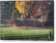 0041 - Red Barn On A Foggy Fall Morning Acrylic Print