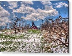Red Barn On Farm In Winter Acrylic Print by Joann Vitali