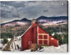 Red Barn On Old Farm - Stowe Vermont Acrylic Print by Joann Vitali