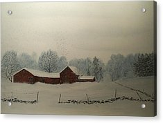 Acrylic Print featuring the painting Red Barn Storm by Ken Ahlering