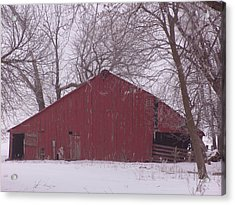 Red Barn Trees Snow Acrylic Print