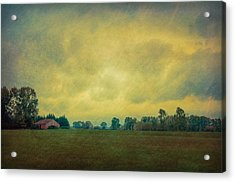Red Barn Under Stormy Skies Acrylic Print