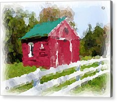 Red Barn Vermont Watercolor Acrylic Print by Ralph Liebstein