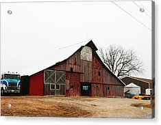 Red Barn W Blue Truck 2 Acrylic Print by Mike Loudermilk