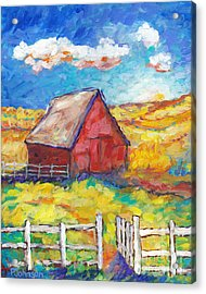 Red Barn And Golden Fields Acrylic Print