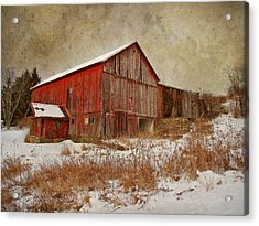 Red Barn White Snow Acrylic Print