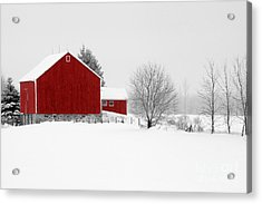 Red Barn Winter Landscape Acrylic Print by Cathy  Beharriell