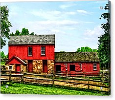 Red Barn With Fence Acrylic Print by Susan Savad