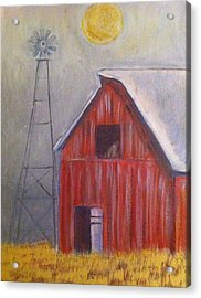 Red Barn With Windmill Acrylic Print by Belinda Lawson