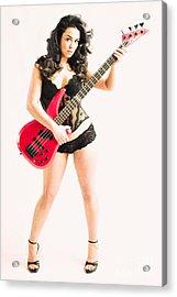Red Bass Guitar Acrylic Print
