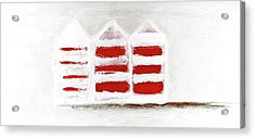 Acrylic Print featuring the painting Red Beach Huts by Frank Tschakert