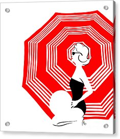 Acrylic Print featuring the digital art Red Beach Umbrella by Cindy Garber Iverson