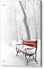 Red Bench In The Snow Acrylic Print by  Jaroslaw Grudzinski