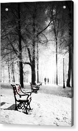 Red Benches In A Park Acrylic Print