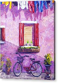 Red Bike, Burano, Italy Acrylic Print by Steven Boone