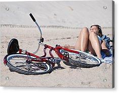 Red Bike On The Beach Acrylic Print by Rob Hans