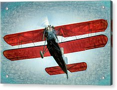 Acrylic Print featuring the photograph Red Biplane by James Barber