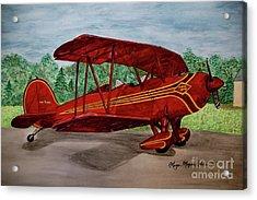 Red Biplane Acrylic Print by Megan Cohen