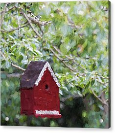 Red Birdhouse Painterly Effect Acrylic Print by Carol Leigh