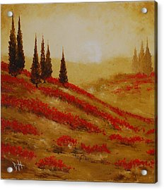Red Blooms At Dawn Acrylic Print by Debra Houston