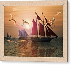 Red  Blue And White Sails At Sunset  Acrylic Print by John Breen