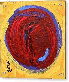 Acrylic Print featuring the painting Red Blue Moon On Yellow by Mary Carol Williams