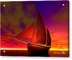 Red Boat At Sunset Acrylic Print